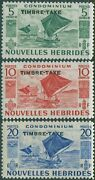 New Hebrides French Due 1953 Sgfd92-fd94 Outrigger Canoes Timbre-taxe Mlh