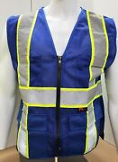 Fx Two Tone Hi-vis Blue Safety Vest W/ 4 Front Pocket Small To 4xl Ships Free