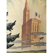 1918 Original French Wwi War Bond Poster Cathedral At Strasbourg Aviation