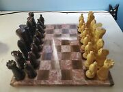 Vintage Ceramic Medieval Chess Complete Brown And White With Marble Chessboard