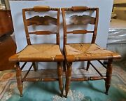 Ethan Allen Hitchcock Signed Chair Set Of 2 Rush Bottom Eagle Stencil Maple Gold