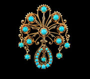 Vintage Victorian Revival 14k Gold Persian Turquoise Floral Pin Brooch Pendant