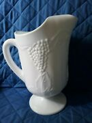 Vintage Hob Nail Milk White Pressed Glass Pitcher Harvest Grapes W/ Two Tumbers