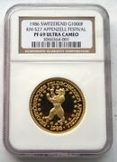 Switzerland 1986 Shooting Festival 1000 Francs Ngc Pf69 Gold Coinrare