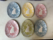 Lot 6 Magenta Easter Egg Rabbit Bunny Oval Yellow Pink Green Blue Plate Damask
