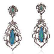 Emerald And Opal Pave Diamond Dangle Earrings 18k Gold 925 Sterling Silver Jewelry