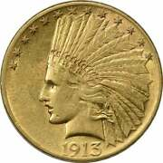1913 10 Gold Indian Au Uncertified
