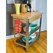 Stainless Steel Rolling Kitchen Cart With Bamboo Top / Drawer And 2 Steel Shelve