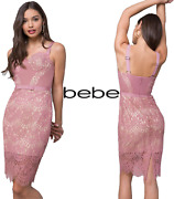 Bebe Clarissa Seashell Lace Bustier Womenand039s Cocktail Dance Party Dress Nude Pink