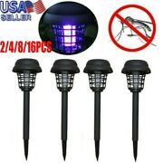 Y88 2pc Solar Powered Garden Led Light Mosquito Pest Bug Zapper Insect Killer