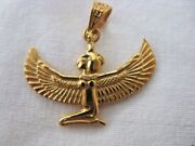 Egyptian Winged Goddess Isis 18k Yellow Gold Pendant 1.25 Wide X 1.1 By Order
