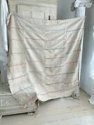 Grainsack Tablecloth Curtain Upholstery Fabric Blue Stripes Vintage Hand Woven