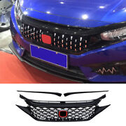 For 2016-2018 Honda Civic Abs Black Front Meteor Shower Grille Grill Decoration