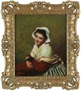 Edwin Thomas Roberts Fine Antique Oil Portrait Painting Of A Lady Signed