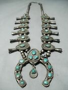 Early Women's Vintage Navajo Turquoise Sterling Silver Squash Blossom Necklace