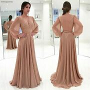 Long Sleeves Chiffon Mother Of The Bride Dresses Formal Godmother Evening Weddin