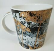 Aileen Morley Dunoon Nocturne Coffee Mug Floral Fine Bone China Black Gold White