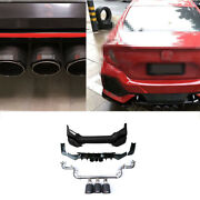 Abs Black For Honda Civic 2016-2020 Rear Bumper Spoiler Canards Cf 3-outlet Pipe