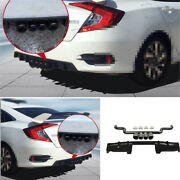 Black For Honda Civic 10th 16-2020 Rear Bumper Spoiler Canards 4-outlet Pipe Abs