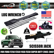Scissor Jack And Wind Up For Ford F250 F350 F450 F550spare Tire Tools Lug Wrench