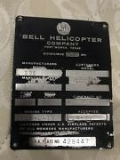 Bell Huey Helicopter Us Aircraft M.a.a Plate No. 428447