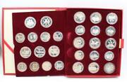1980 Moscow Olympics Full 28-coin Choice Proof Set Coas 20+ Ozs Pure Silver