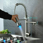 Kitchen Sink Faucet Pull Down Sprayer Brushed Nickel Led Swivel Spout Mixer Tap1