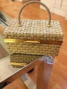 Delill By Hashimoto 1950andrsquos Gold Woven Metal Box Purse With Foil Opal Closure