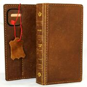 Genuine Real Leather Case For Apple Iphone 12 Mini Wallet Bible Book Tan Cover