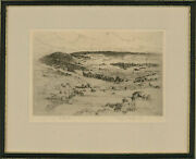William Monk Re 1863-1937 - Early 20th Century Etching Dorking From Box Hill