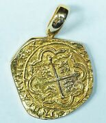 Atocha 8 Reales / 8 Escudos Restrike Cast In 14k Solid Gold W/ Attached Bail