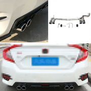 Chrome Steel 1.0t For Honda Civic 16-2020 4-outlet Exhaust Muffler Tip Tail Pipe