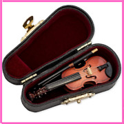 Miniature Violin With Case Music Instrument Gift Collection Small Tiny Replica