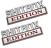 2pcs Big Shitbox Edition Emblems Sticker Car Decal For Truck Badge Chrome Red