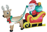Santa On Sleigh 6 Ft Long With Reindeer Christmas Decoration Outdoor Use
