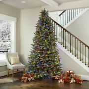 9and039 Pre-lit Micro Led Artificial Christmas Tree Winter Family Happy Holidaysandnbsp