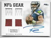 Russell Wilson - 2012 National Treasures Rookie Nfl Gear Quad Autograph /15