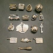 Vintage 925 Sterling Silver Charm Lot Of 16 By Danecaft 66 Grams