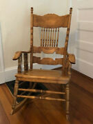 Antique Victorian Cane And Solid Maple Wood Rocking Chair