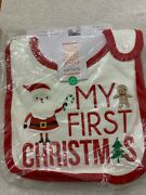 New 3-pack Carters Infant My First Christmas Teething Bib Just One You 100 Cott