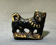 Rare Ancient Egyptian Faience Amulet Of A Dog With Ornate Collar, C. 1st Cent Ad