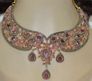925 Sterling Silver Rose Cut Victorian Look Natural Ruby And Diamond Necklace