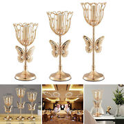 Wedding Gold Candle Holder Table Centerpieces Dinner Xmas Decor Candlestick