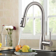 Stainless Steel Single Handle High Arc Pull Out/down Sprayer Kitchen Sink Faucet