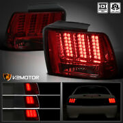 Fits 1999-2004 Ford Mustang Red/smoke Sequential Led Signal Tail Lights Lamps