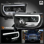 For 2007-2013 Toyota Tundra Sequoia Black Projector Headlights Led Bar 07-13