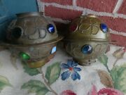 Antique Victorian Jeweled Brass Oil Lamp Shade Pair