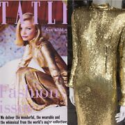 Gold Sequinned Long Maxi Gown Dress Front Cover Tatler 1995 J.kidd
