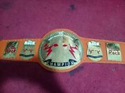 Wwe The Rock Wrestling Championship Leather Belt Adult Size Metal Plated