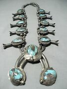 Womenand039s Vintage Navajo Turquoise Sterling Silver Squash Blossom Necklace